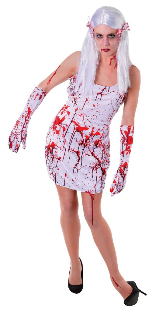 Adults Bloody Dress Costume Bleeding Wound Vampire Fancy Dress Outfit